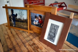 Three Picture Frames, Left to Right:  Schoolhouse Frame, The