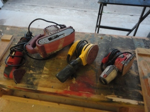 "Power Sanding Tools:   from R to L: oscillating tool with sander head, belt sander, random orbital sander, inline 1/4"" sander"