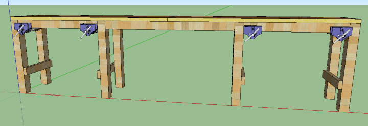 Click for Plans.  Vises not included.  We used Jorgeson Orange clamps from Home Deopt, special ordered.