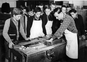 queensland_state_archives_1634_north_brisbane_intermediate_school_woodwork_class_april_1951